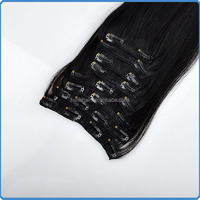 Large stock for quick delivery full head wearing easy to dye natural black straight hair with clips