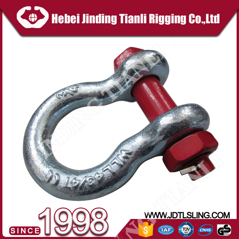 lifting chain sling shackle/shackle/rigging hardwa drop forged g2150 dee shackle with safety pin us type shackle