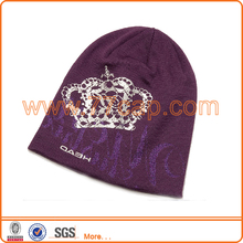 cheap plain acrylic knitted cap winter beanie hat for girl