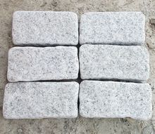 China Grey Granite Tumbled Stone Cobbles Pavers For Sale
