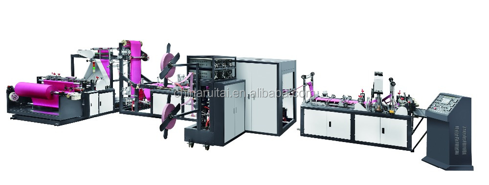Automatic Non Woven Box Bag Machine with online handle attach