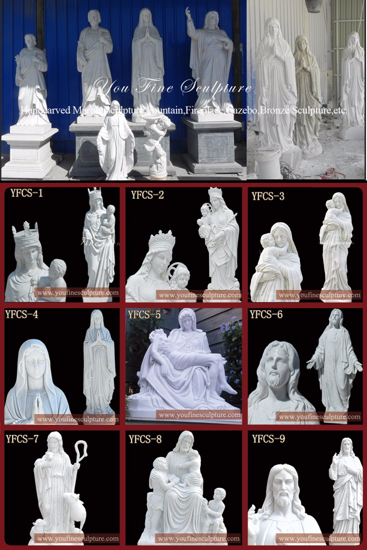 Hand Carved White Virgin Mary Stone Statue For Sale