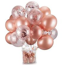 Boomwow 40 Pieces set Rose Gold Confetti Balloons <strong>12</strong> Inches Latex Party Balloons for Bridal Shower Weddings Decorations