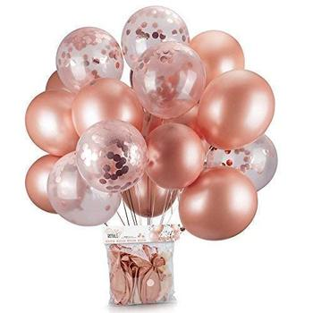 Boomwow 40 Pieces set Rose Gold Confetti Balloons 12 Inches Latex Party Balloons for Bridal Shower Weddings Decorations