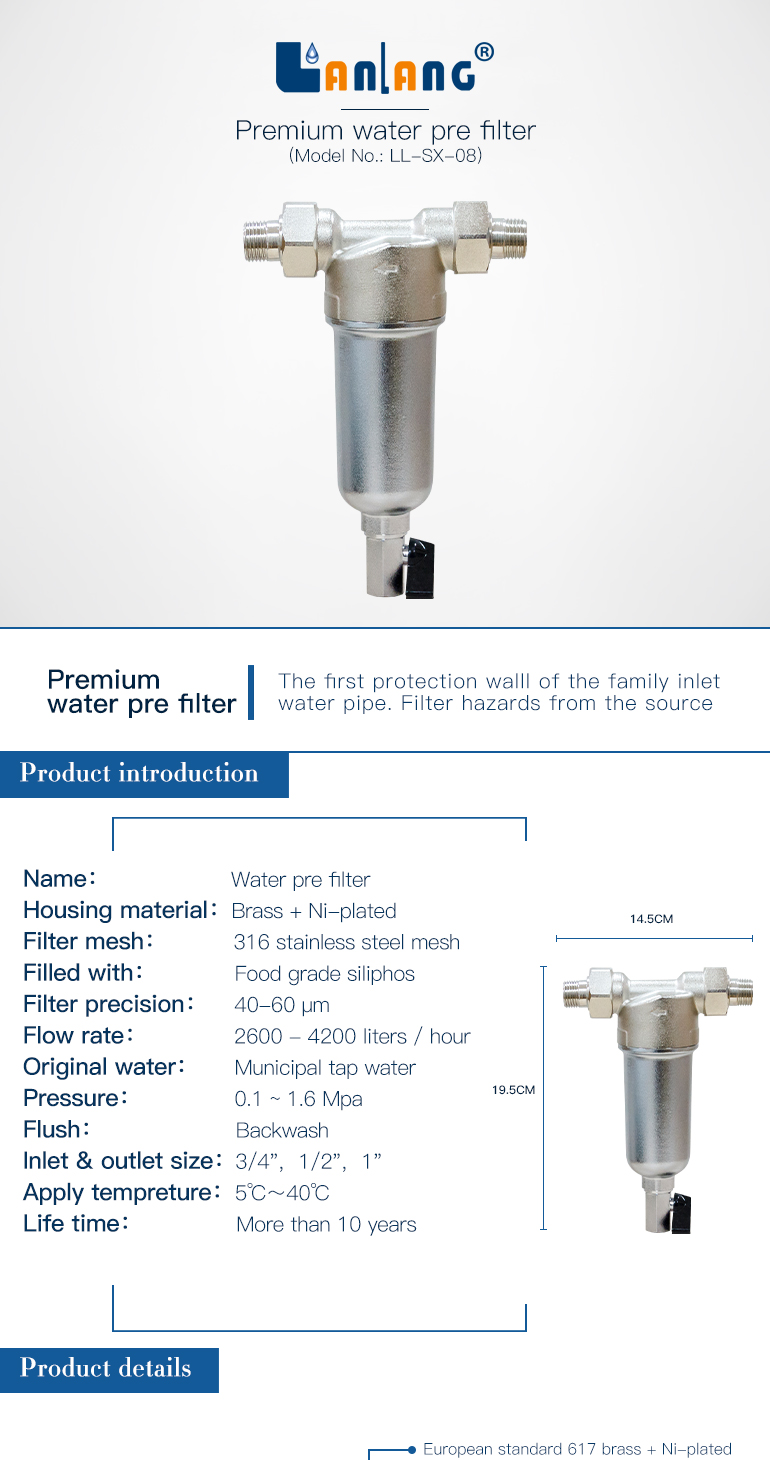 LL-SX 08 anti scale Ni-Plated brass body home water purifier pre water filter