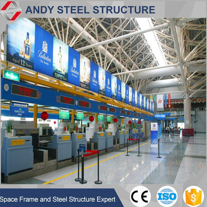 Arched galvanized curved /triangular roof truss for airport terminal
