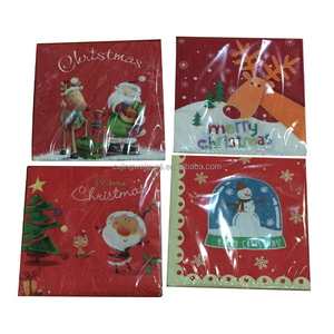 Custom Made Colorful 1/4 Fold 2 Layer 3 Layer Christmas Party Dinner Paper Printed Napkins