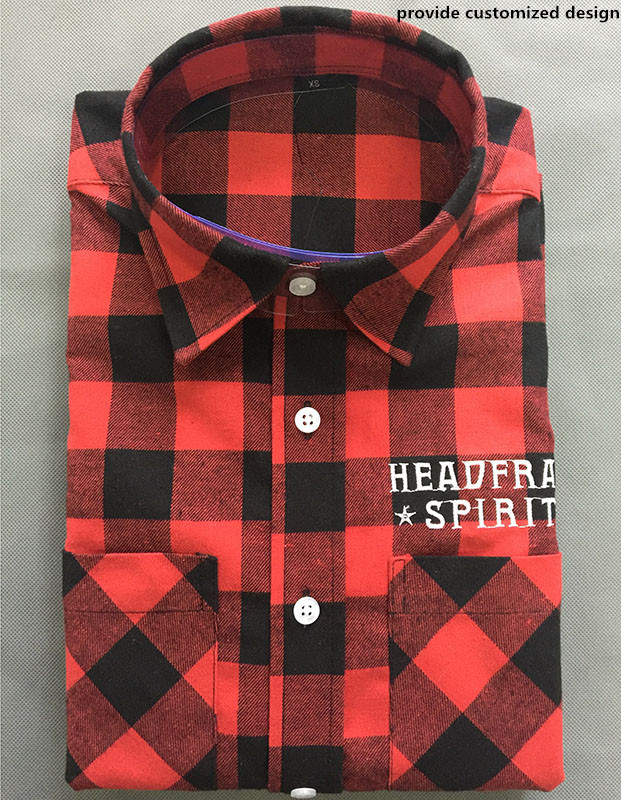 100% cotton quilted plaid flannel <strong>shirt</strong> for man