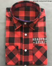 100% cotton quilted plaid flannel shirt for man