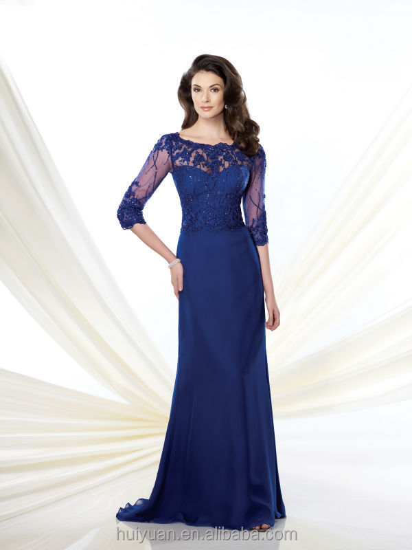 Navy blue long sleeve lace mother of the bride evening dress