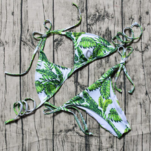 leaf printed side tie china factory sale sweden bikini transparent bikini model