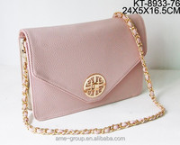 Hot Sale Message Look PU Leather Metal Chain Ladies Cross Body Handbag