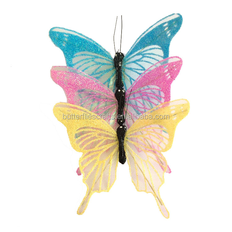Colored design organza butterflies decoration for wedding centerpieces