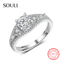 Platinum Plated Silver Jewelry, 925 Sterling Silver Engagement Wedding Ring with CZ