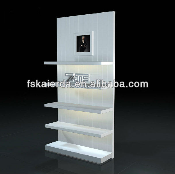 MDF wooden white painted 4 layers shop clothes shelf