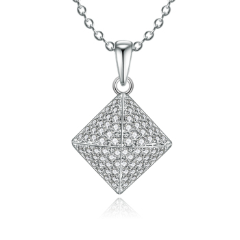 Hot Sale Square Pendant Sterling 925 Silver Plated 18K White Gold Light Weight Wax Setting Pendant Necklace Jewelry