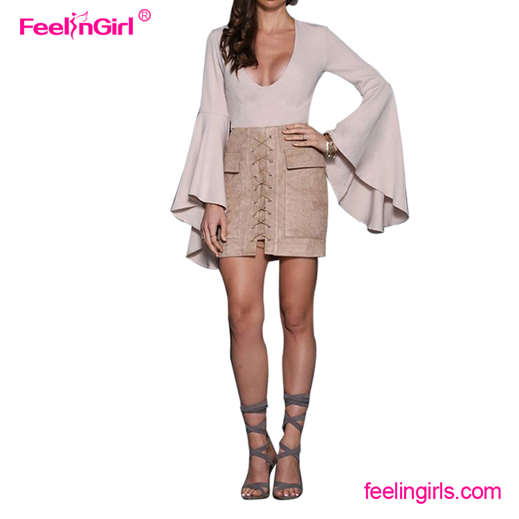 High Waist Beige Suede Mini Pencil Lady Latest Skirt Design Pictures