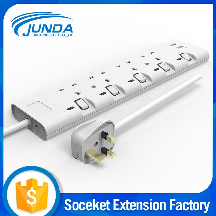Quality assurance china manufacturer usb extension socket,3 pin 5 ways universal convenience outlet