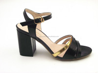 color matching thick heel italian leather Middle heel sandals ladies gold with black