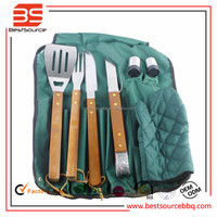 7 Pc BBQ Aprons & BBQ Tools Set - Tong, Fork, Spatula, Shakers, Mitt - Grilling Tool Set with Wooden Handle