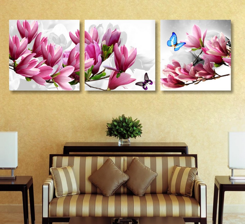 3panel Orchid Flower Art Flower Canvas Painting Set Paintings Modern ...