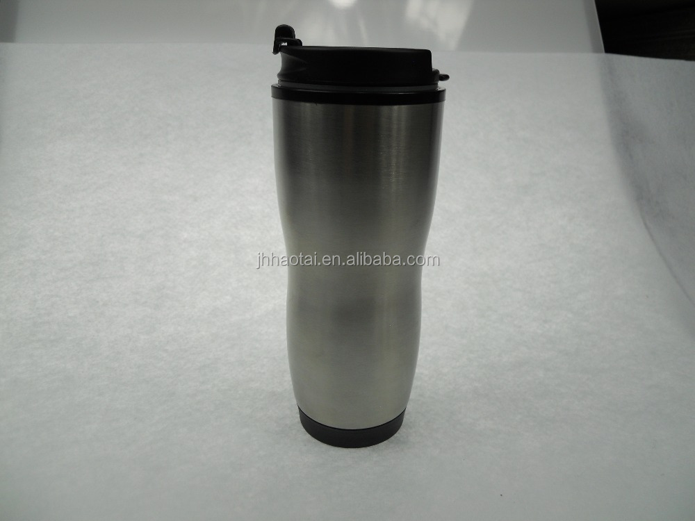 New design hot sale stock sublimation auto seal stainless steel travel drinking mug with plastic