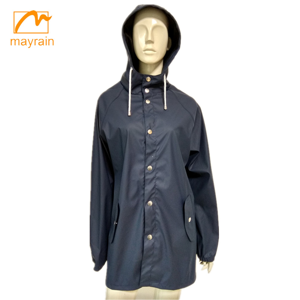 OEM High Quality Black Color 100% PU water proof rain Jacket