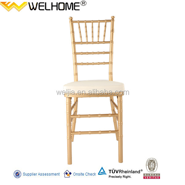 Beech wooden Gold Color Chiavari Chair with ivory soft cushion