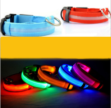 LED Lights dog Pets Collars,Adjustable Polyester Glow In Night Pet Dog Cat Puppy Safe Luminous Flashing Necklace Pet Supplies