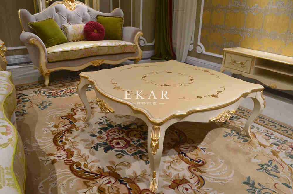 Oval shape neoclassical wood tree trunk cocktail table
