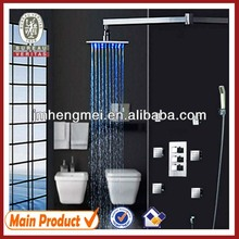 "led shower set bathroom new design square brass led rain shower set with 2"" massage body jets led shower set"