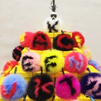 26 letters Real Natural Fox Fur Ball Pompom Keychain Handbag Car Cellphone Pendant Hanging Accessory Keyring