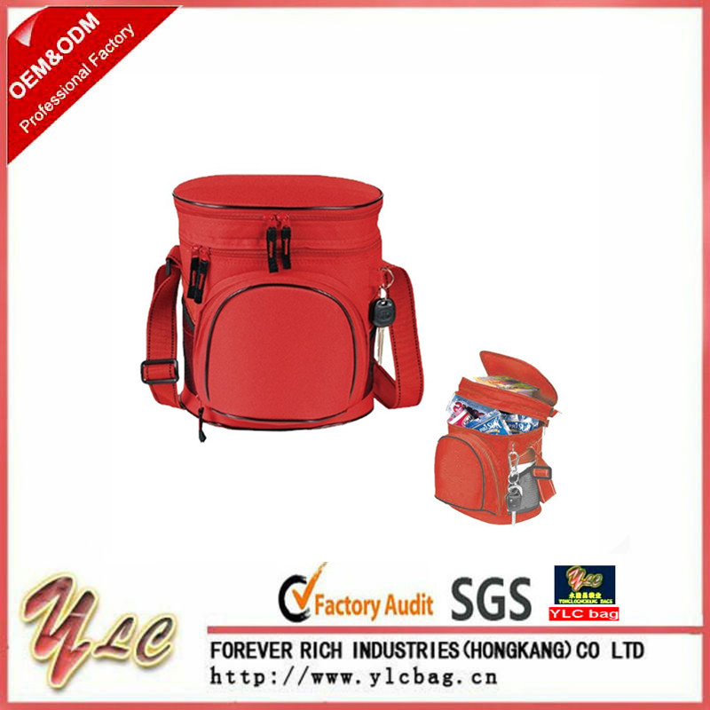 600D Polyester Lunch Bag Insulated Cooler Bag With Double Compartment 12 Can Collapsible