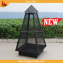 Pyramid Black Outdoor Metal Steel Wood Burning Fireplace