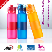 New Products 500ml/16oz Platinum Silicone Drinking Bottle With PP Grab BPA Free Collapsible Water Bottle