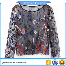 Vacation Long Sleeve Round Neck Colorful Embroidery Sheer Mesh Sexy Top