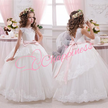 White bloemenmeisjes jurk First Communion Dresses for Girls 2016 Ball Gown Belt Pink Elegant