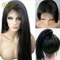 Affordable 18 Inch Long Brazilian Virgin Human Hair Silky Straight Lace Front Wig For Black Women