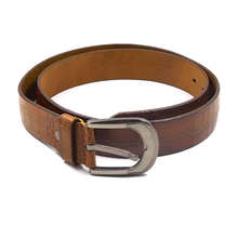 FM brand Customized leather belt pin buckle brown color smooth leather genuine men belt china