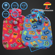 colorful plush animal hot water bottle cover