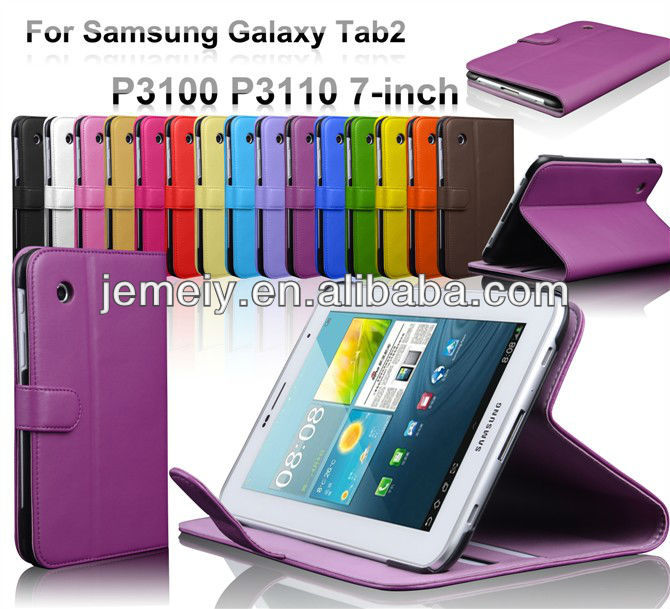 stand wallet leather case for Samsung Galaxy Tab2 P3100