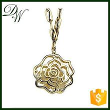 15662 Sample Support fashion chain necklace men gold pendant necklace, flower high quality necklace