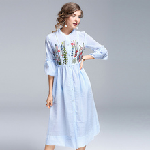 High End Mid Calf Dress Women Spring Summer 2017 Half Butterfly Sleeve Floral Embroidery Empire Sweet Brief Fashion Dress