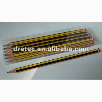 High quality wooden pencil with strip and dip
