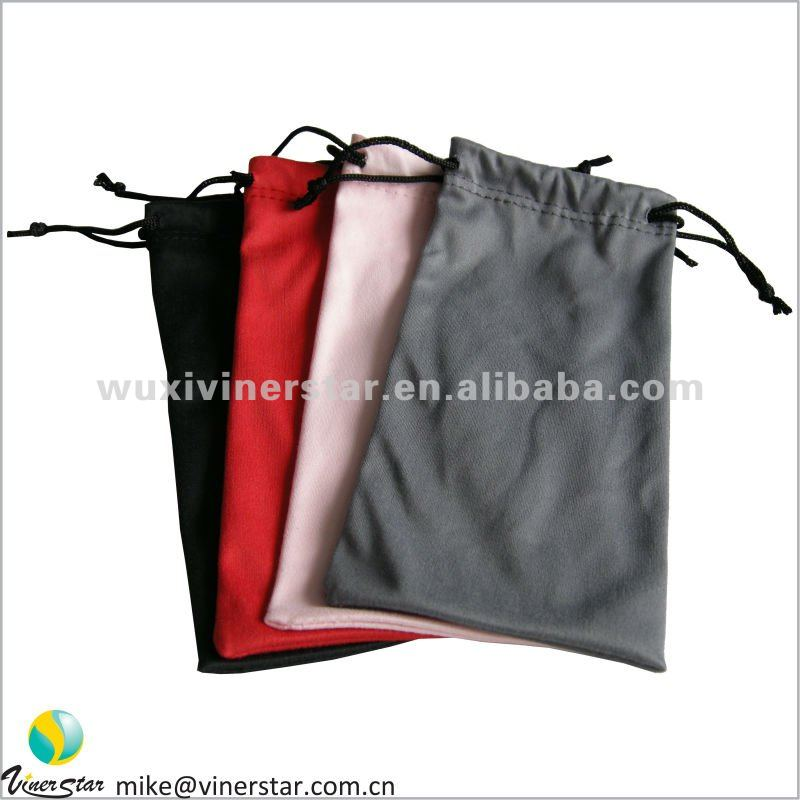soft plain dyed microfiber double drawstrings glasses pouch with your logo printed