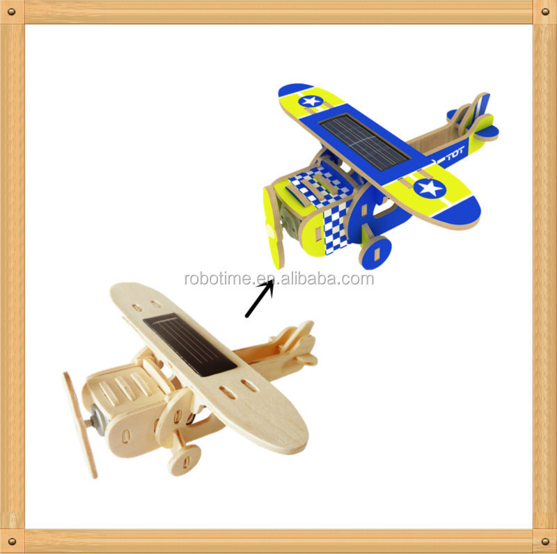 Wholesale wooden solar power plane toys