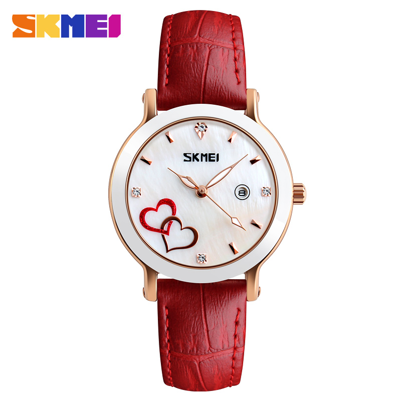 Skmei Luxury My Brand Name Logo Custom Printed Ladies Fancy Watches Genuine Leather
