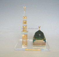 Crystal 24k gold plated Al Masjid model for ramadan gift