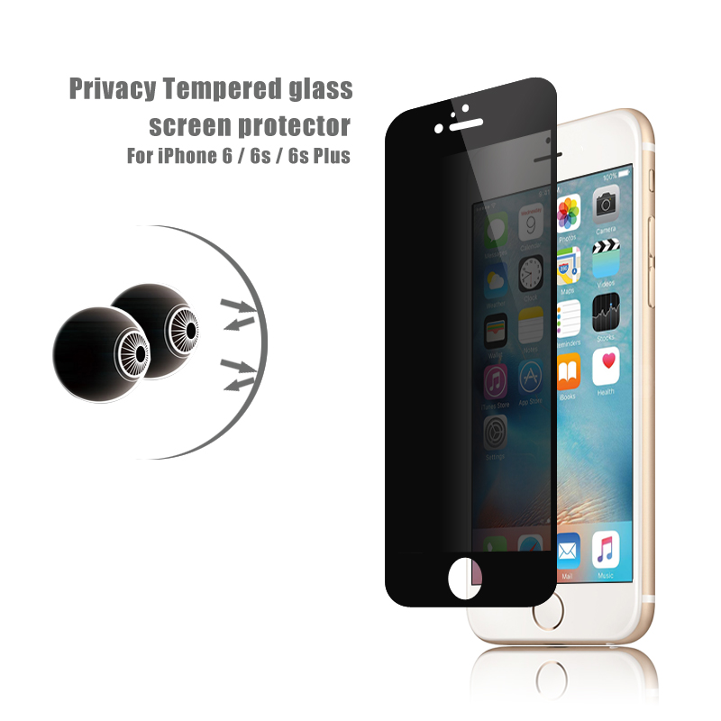 OEM / ODM 2017 newest ! 9H full cover privacy tempered glass screen protector tempered glass film for iphone 6 / 6s (privacy)