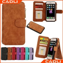 2017 Trending Products Versatile Flip Card Slot Wallet With Zipper Genuine Leather Phone Case For iPhone 6 i7
